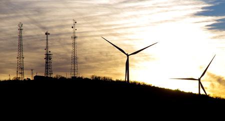 アーバックル山地オクラホマで夕暮れ時の風車 写真素材