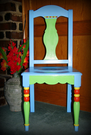Multi colored painted wooden chair