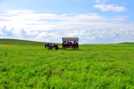 Covered wagon in the Flint Hills Kansas