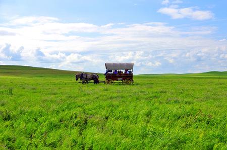 kansas: Covered wagon in the Flint Hills Kansas