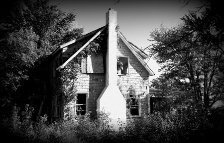 Haunting image of an abandoned farmhouse