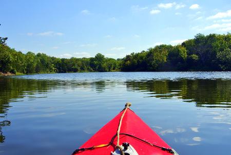 Kayaking on lake Olathe Kansas Banco de Imagens