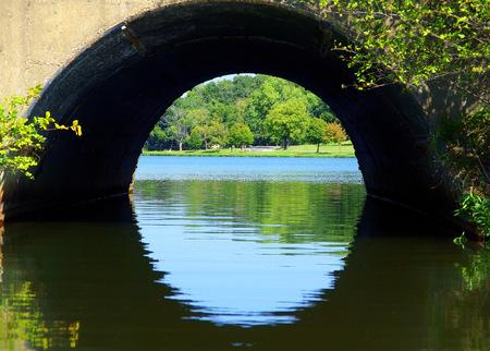 kansas: Bridge over Lake Olathe Kansas Stock Photo