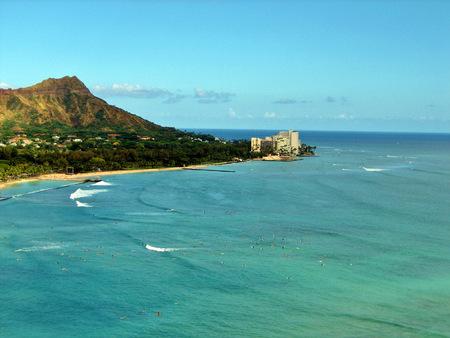 View of Diamondhead Vulcano from Waikiki Oahu Banco de Imagens