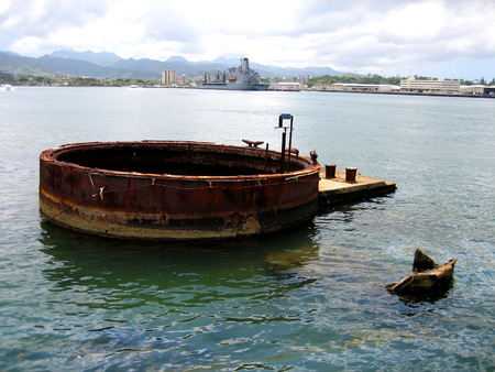 View over Pearl Harbor and the wreckage of the USS Arizona Stock Photo