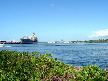 A view over Pearl Harbor on Oahu Hawaii