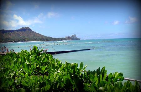 View of Diamondhead Volcano on Oahu Hawaii Stock Photo
