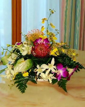Tropical flower arrangement for a festive table