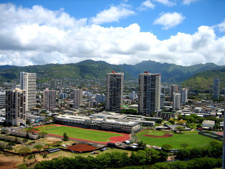 Cityscape of Honolulu Hawaii Banco de Imagens