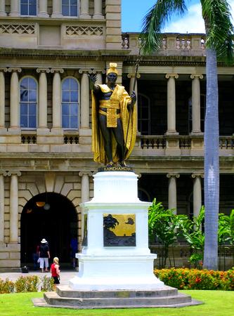Statue of King Kamehameha in front of Aliiolani Hale in Honolulu Hawaii Editorial