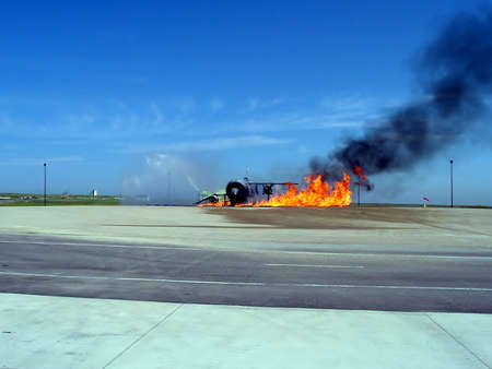Photo of an aircraft disaster response simulation and training Reklamní fotografie