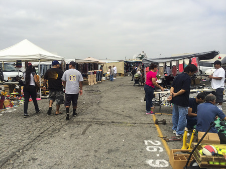 buying and selling at the swap meet,San Gabriel Valley CA.USA Editorial