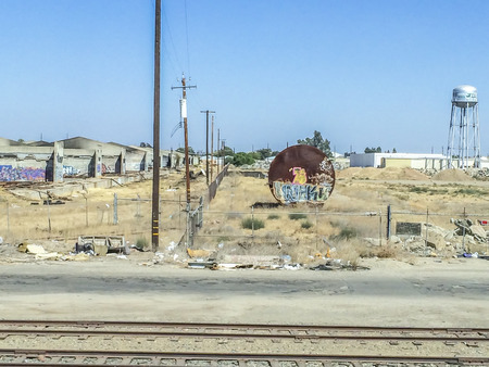 joaquin: Abandon structures, California central valley one of the world's most productive farming regions, picture were taken riding the San Joaquin corridor via Amtrack train, California,USA.