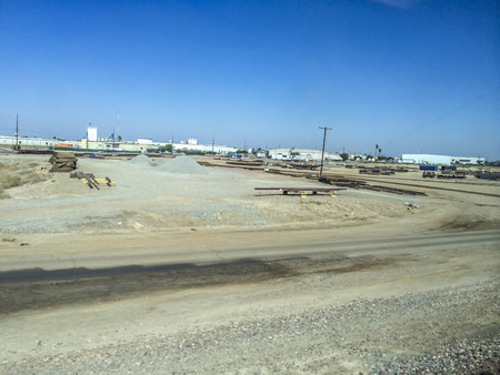san joaquin valley: Utility Yard, California central valley one of the world�s most productive farming regions, picture were taken riding the San Joaquin corridor via Amtrack train, California,USA.