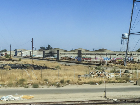 san joaquin valley: Abandon structures, California central valley one of the world�s most productive farming regions, picture were taken riding the San Joaquin corridor via Amtrack train, California,USA.