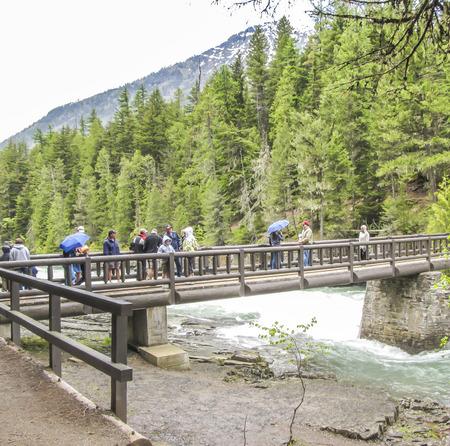 avalanche: Bridge over Avalanche Creek - Glacier National Park - Montana - USA Editorial