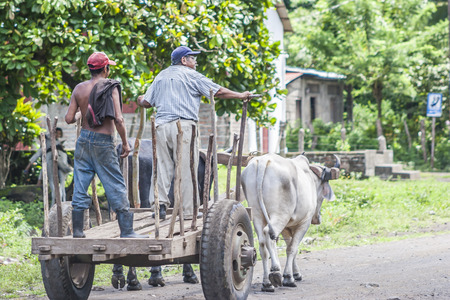 People riding on a cart, Ometepe Island cart, wagon, Ometepe Island, Rivas, Nicaragua