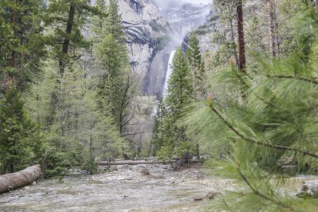 rockslide: Lower tail of Yosemite falls, Yosemite National Park, CA. USA. Stock Photo