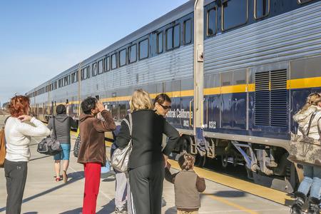 joaquin: Amtrak Train ready to depart at Modesto Amtrack Station, Modesto CA. USA. Editorial