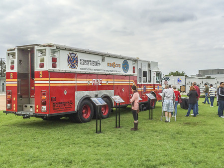 Fire Department Engine on display, Veterans  Field of Valor at Sierra Vista Middle School,  Covina, CA.USA