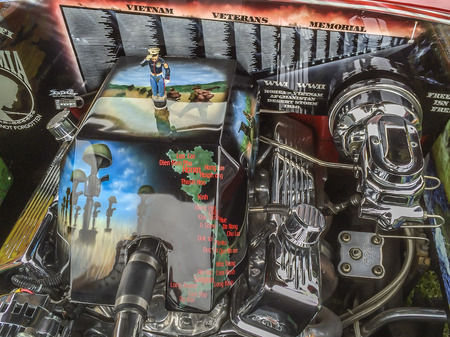 Chevy 1956 engine with Vets themes and symbols, Veterans ceremony at  Sierra Vista Middle School,  Covina, CA.USA