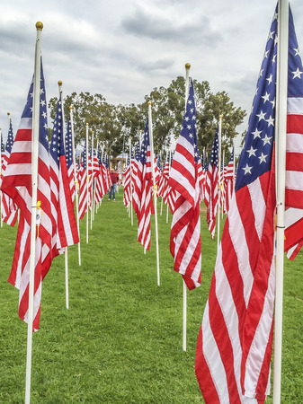 valor: 2000 American Flags on dispaly at the third annual   Field of Valor  Sierra Vista Middle School,  Covina, CA.USA Editorial