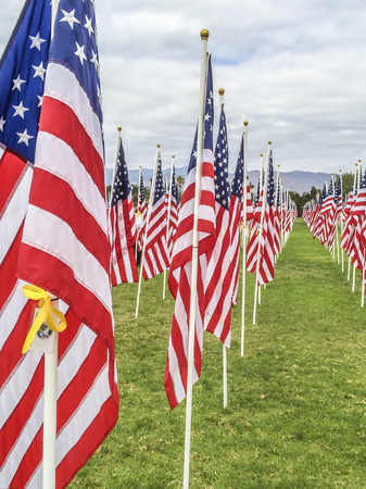 2000 American Flags on dispaly at the third annual   Field of Valor  Sierra Vista Middle School,  Covina, CA.USA