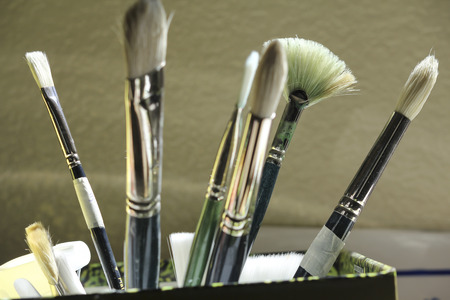artist brush, artist material, brushes, color photography, painting