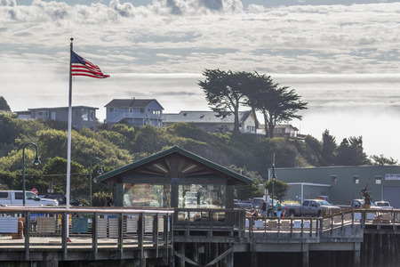 coquille: Old Town Bandon Pier Marina, Coquille River meets the Pacific Ocean,Bandon,Oregon.USA.