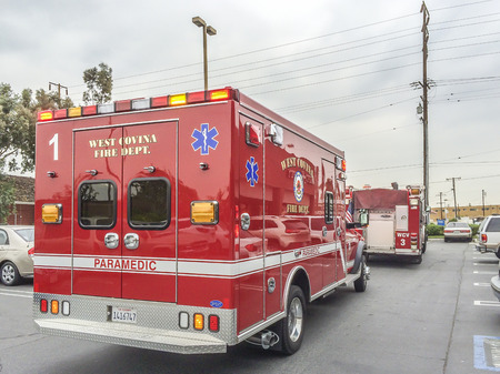 Paramedics ambulance and fire truck,West Covina CA, USA.