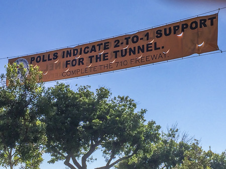 political and social issues: Political and social sign, people petition,710 Freeway completion, Alhambra CA. USA