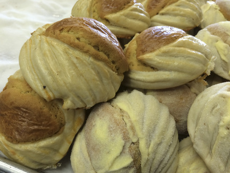 sweet pastries: Delicious Shells Conchas  Mexican pastry sweet bread, food, baked goods, bakeries, Pomona Ca. USA.