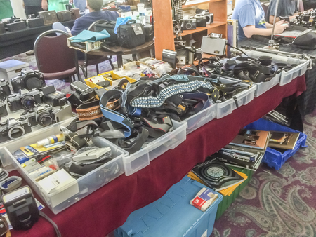 get together: August 9, 2015 - Buyers and sellers get together at the Pasadena Camera show, Pasadena, California, USA.