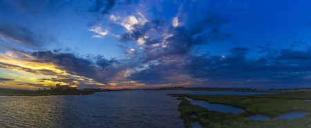 Sunset at  Bolsa Chica ecological reserve,  natural reserve in the city of Huntington Beach, California, United States