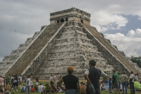 equinox: hurricane  Rita overcasted Chichen Itza Pyramid,tourist from eveywhere came to see the equinox effect  and were desapointed, later on the sky open up for a while and tourist were able to see the astronomical event.