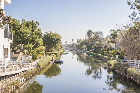 historic: Hazy day at Venice Canal Historic District , Venice, CA. USA.