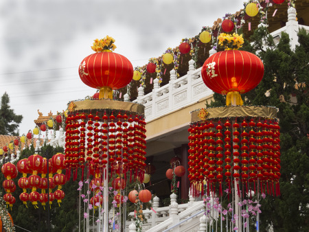 ca: Lantern colors year of the Horse celebration at Hsi Lai Temple, Hacienda heights, CA. USA