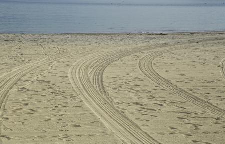 san pedro: Tire truck tracks at Cabrillo Beach, San Pedro, CA. USA Stock Photo