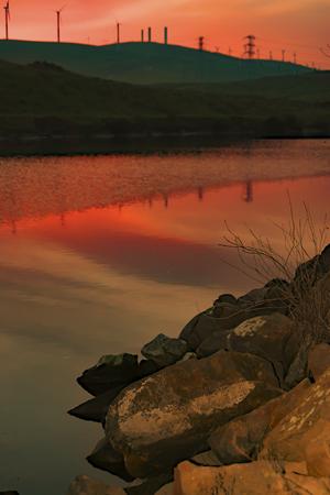 san joaquin valley: Sunset reflection at Bethany Reservoir, San Joaquin Valley, CA. USA. Stock Photo