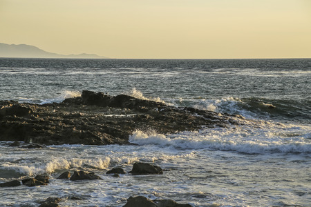 san pedro: Waves splashing the rocks at White point beach, San Pedro, CA. USA.