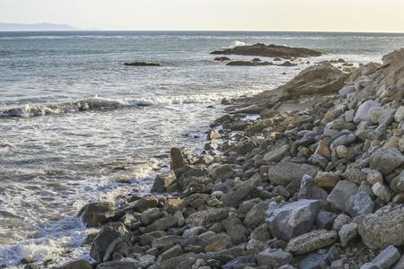 san pedro: Small cliff at White Point beach, San Pedro CA. USA. Stock Photo