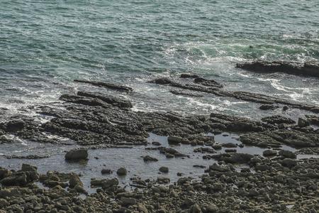 ca: Rocky beach at White point beach, San Pedro, CA. USA. Stock Photo