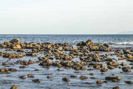 ca: Rocky shore at White point beach, San Pedro, CA. USA.
