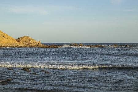 san pedro: Rock barrier at white point beach, San Pedro, CA. USA.