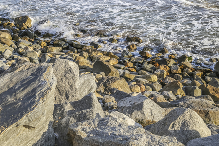 state of mood: Golden rocks at White Point beach, San Pedro, CA. USA.
