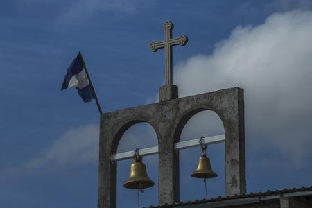 Religious symbols and the Nicaraguan flag, Rivas, Nicaragua