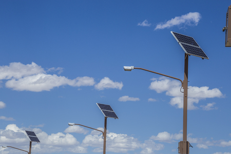 Solar panerl generating clean energy at isolated areas, Utah, USA.