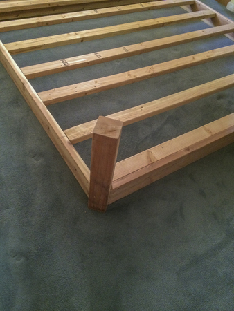 Large home made  wood bed frame