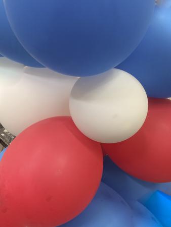 Ballons patriotic colors at the park