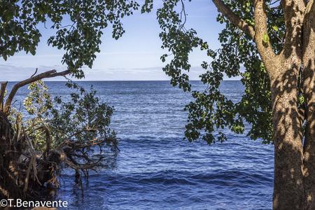 Nicaraguan Lake fremed view, Ometepe Island, Rivas, Nicaragua.